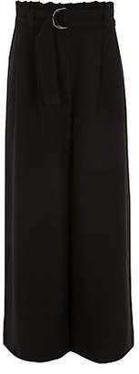 River Island Girls black paperbag waist wide leg pants