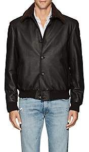 Cifonelli Men's Shearling-Trimmed Leather Bomber Jacket - Brown