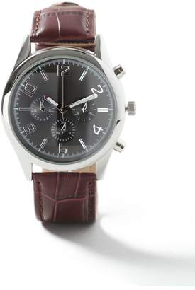 Black Leather Strap Watch*