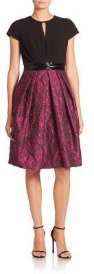 Carmen Marc ValvoCarmen Marc Valvo Short Sleeve Textured Dress