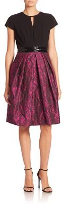 Carmen Marc Valvo Short Sleeve Textured Dress $680 thestylecure.com