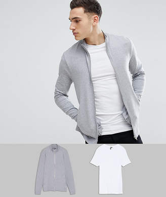 Asos DESIGN Muscle Track Jacket and Muscle T Shirt Multipack