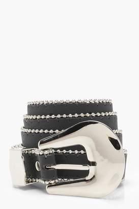 boohoo Leah Chunky Buckle Metal Trim Belt