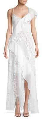 BCBGMAXAZRIA Asymmetric Ruffle Gown