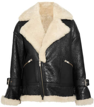 Textured-leather And Shearling Coat - Black