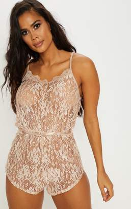 PrettyLittleThing Champagne Lace Teddy