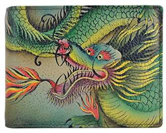 Anuschka Anchka Handpainted Rfid Blocking Two Fold Organizer Hidden Dragon Wallet