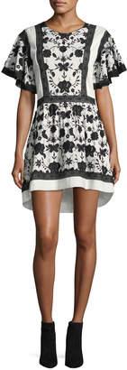 Joie Gaetena Crewneck Flutter-Sleeve Short Dress