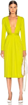 Cushnie Plunging Long Sleeve Dress in Lime | FWRD