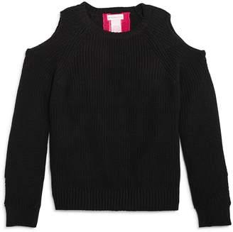 Design History Girls' Cold-Shoulder Back-Cutout Sweater