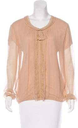 Lanvin Long Sleeve Frayed Blouse