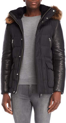 Mackage Real Fur Trim Leather Sleeve Down Coat