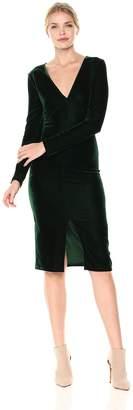 Lucca Couture Women's Madison Low Velvet Midi V Neck Dress
