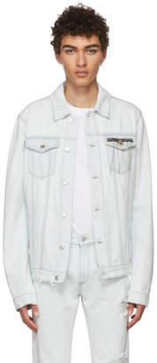 MSGM Blue Denim Shred Bottom Jacket