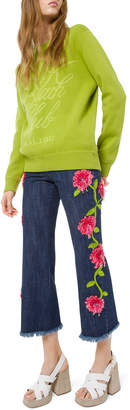 Michael Kors Cropped Floral-Embellished Jeans