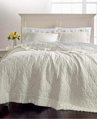 Martha Stewart Collection CLOSEOUT! Linen-Cotton Ruffle Twin Quilt, Created for Macy's