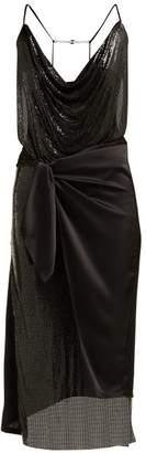Paco Rabanne Wrap Chainmail And Satin Midi Dress - Womens - Black