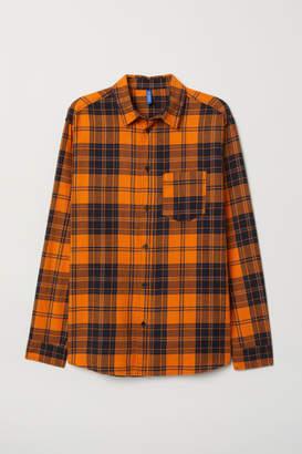H&M Plaid Cotton Flannel Shirt - Orange