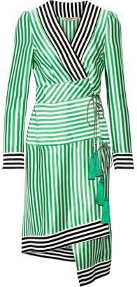 Etro - Asymmetric Striped Silk Wrap Dress - Green $2,010 thestylecure.com