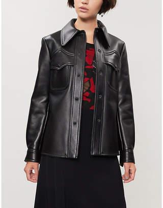 Maison Margiela Curved-hem leather jacket