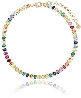 Shay rainbow gem 18K gold choker necklace