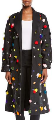 Osman London Multicolor Appliqué; Satin Mid-Length Wrap Coat