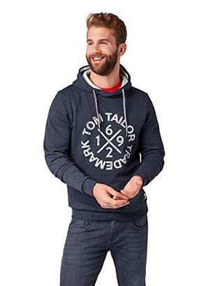 Tom Tailor Casual Men's Hoode, Washed Knitted Navy Melange, XXXL Sweatshirt, Blue 11078, XXX-Large