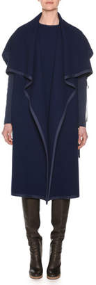 Agnona Shawl-Collar Open-Front Belted Wool Coat w/ Knit Sleeves