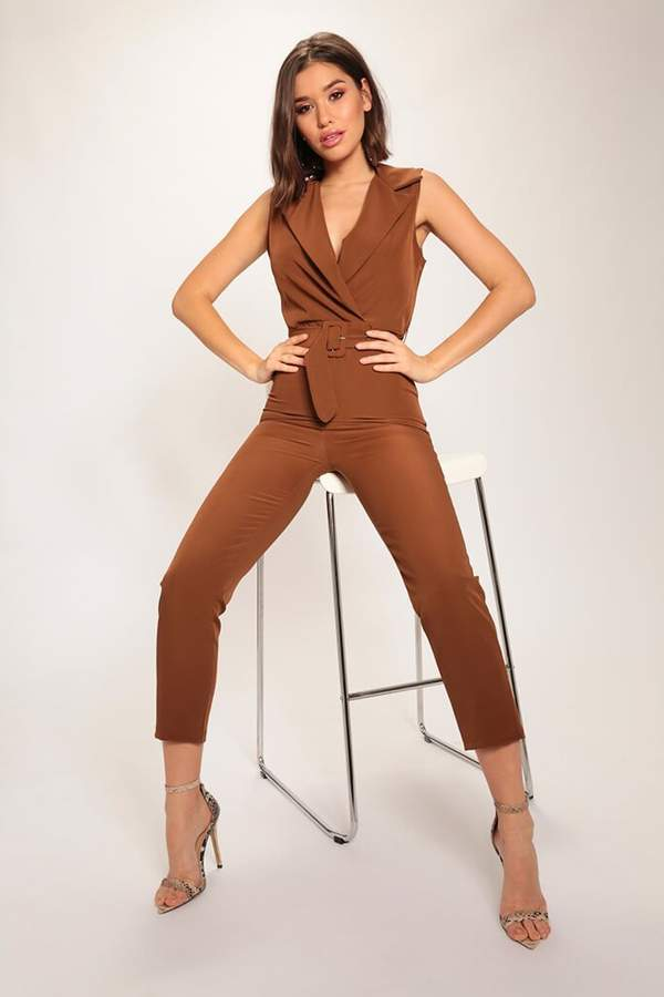 Isawitfirst Chocolate Tailored Sleeveless Jumpsuit
