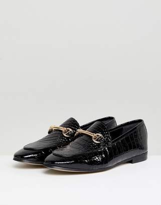 Dune London Guilt Leather Black Croc Loafer Shoes With Snaffle Trim
