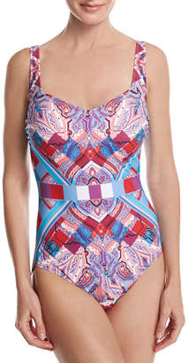 Gottex Harlequin V-Neck One-Piece Swimsuit, Red/Pink/Blue $178 thestylecure.com