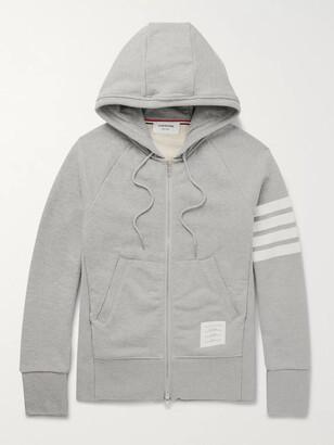 Thom Browne Slim-Fit Striped Loopback Cotton-Jersey Zip-Up Hoodie - Men - Gray