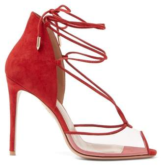 Aquazzura Magic Peep Toe 105 Suede Sandals - Womens - Red
