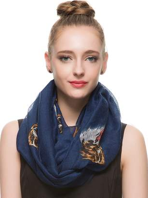 HUAN XUN Pretty Border Collie Dog Animal Print Infinity Loop Scarf, Navy