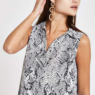 River Island Grey snake print V neck sleeveless top