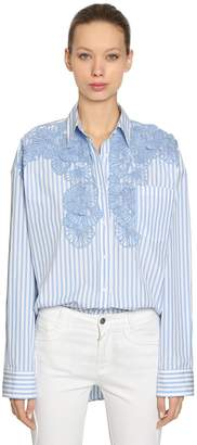 Ermanno Scervino Oversized Striped Cotton Shirt W/ Lace