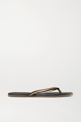 TKEES Duos Two-tone Leather Flip Flops - Brown