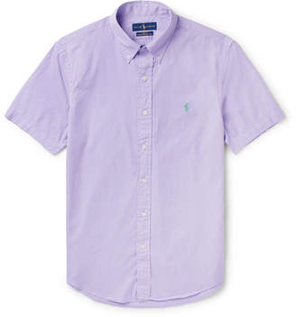 Polo Ralph Lauren Slim-fit Garment-dyed Button-down Collar Cotton-twill Shirt - Purple