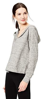 Amazon Brand - Daily Ritual Women's Terry Cotton and Modal Hooded Henley Pullover