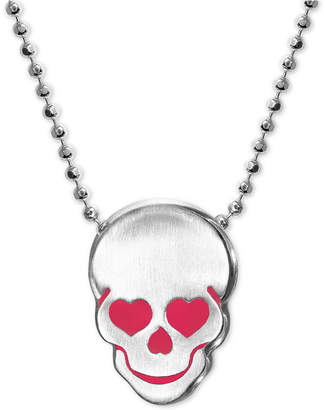 "Alex Woo Enamel Heart Skull 16"" Pendant Necklace in Sterling Silver"