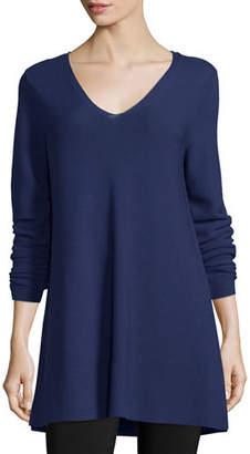 Eileen Fisher Crisp Cotton Links Long-Sleeve V-Neck Tunic, Plus Size