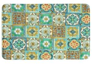 "Bacova Malibu Tiles 22""x35"" Memory Foam Rectangle Rug Bedding"