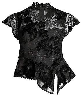 Nanette Lepore Women's Trickery Floral-Embroidered Peplum Top