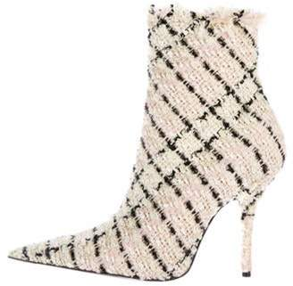 Balenciaga Tweed Knife Ankle Boots pink Tweed Knife Ankle Boots
