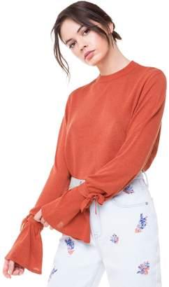 Juicy Couture Metallic Tie Sleeve Pullover Sweater