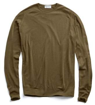 John Smedley Sweaters Easy Fit Merino Crewneck Sweater in Olive