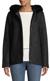 Short Wool Boucle Top Coat w/ Faux-Fur Hood
