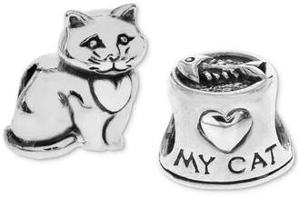 Rhona Sutton 2-Pc. Set Heart My Cat Bead Charms in Sterling Silver