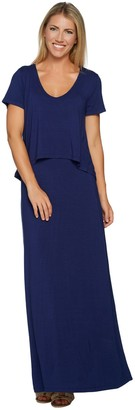 Lisa Rinna Collection Petite Knit Maxi Dress with Overlay