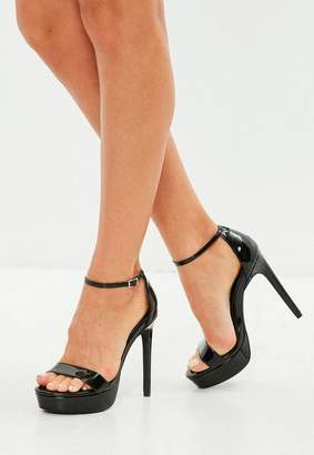 Missguided Black Simple Strap High Platform Sandal
